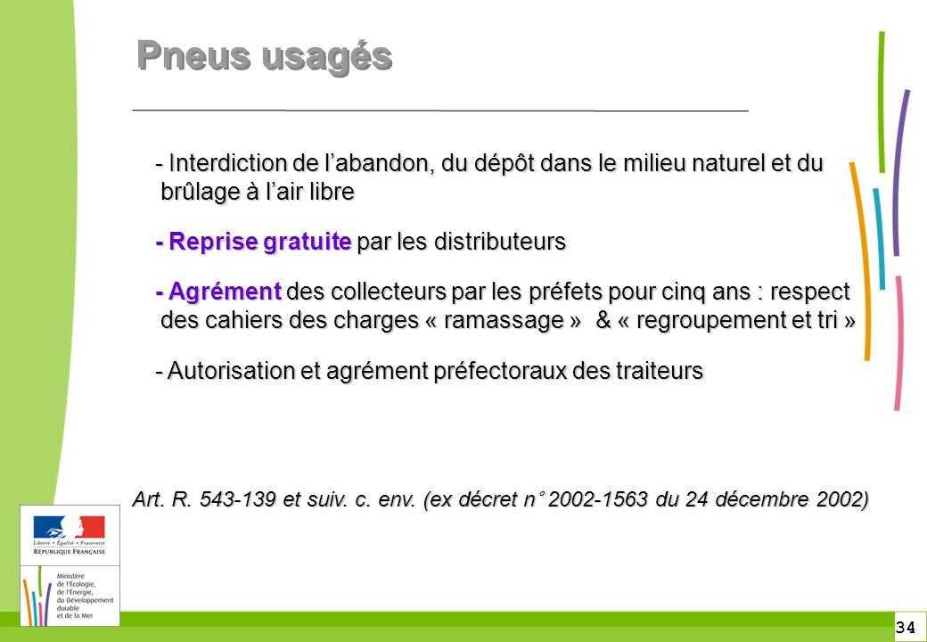 34 Pneus usagés - Interdiction de l'abandon, du dépôt dans le milieu naturel et du brûlage à l'air libre - Interdiction de l'abandon, du dépôt dans le