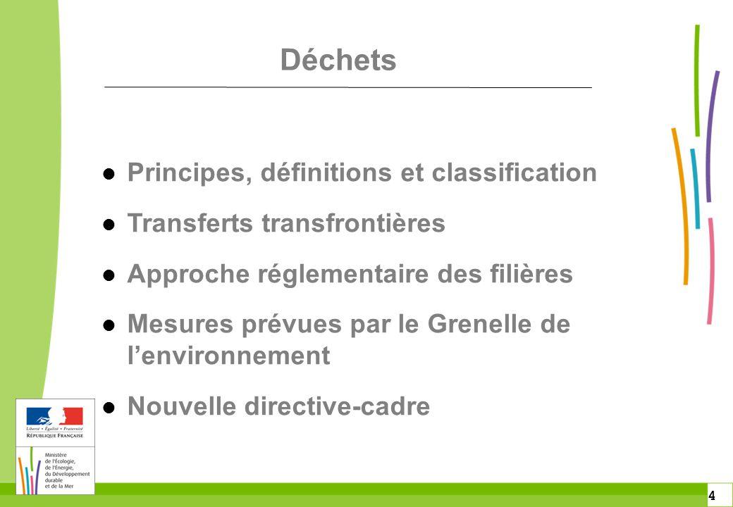 4 4 l Principes, définitions et classification l Transferts transfrontières l Approche réglementaire des filières l Mesures prévues par le Grenelle de