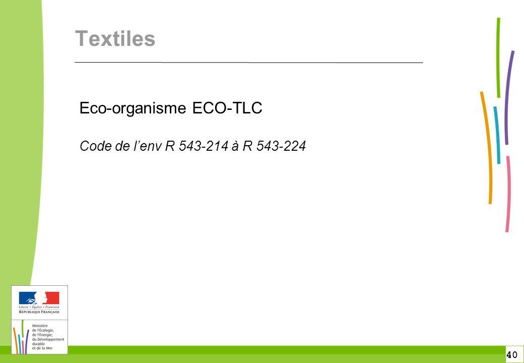 40 Textiles Eco-organisme ECO-TLC Code de l'env R 543-214 à R 543-224