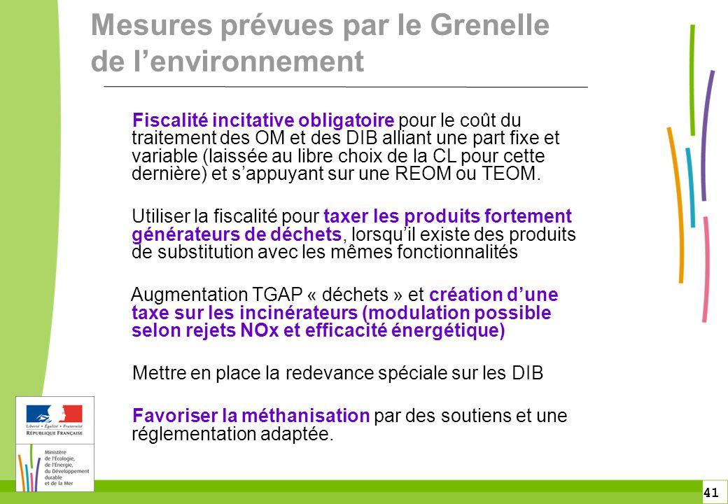 41 Mesures prévues par le Grenelle de l'environnement Fiscalité incitative obligatoire pour le coût du traitement des OM et des DIB alliant une part f