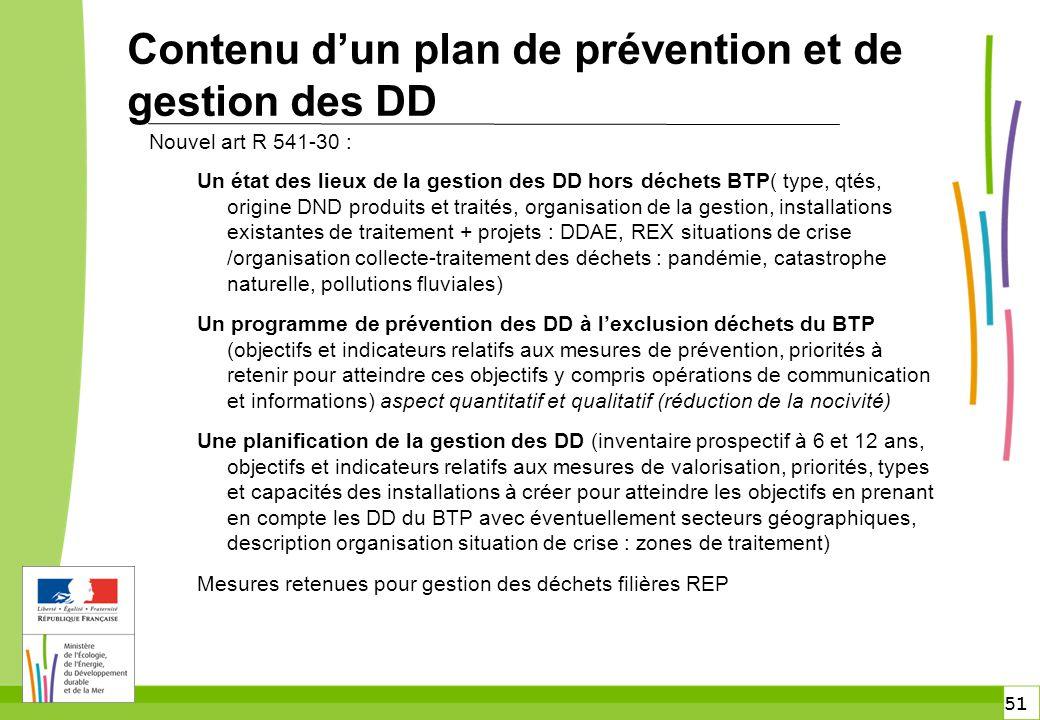 51 Contenu d'un plan de prévention et de gestion des DD Nouvel art R 541-30 : Un état des lieux de la gestion des DD hors déchets BTP( type, qtés, ori