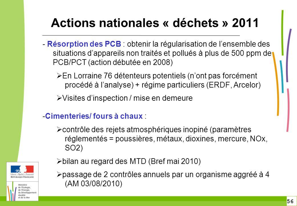 56 Actions nationales « déchets » 2011 - Résorption des PCB : obtenir la régularisation de l'ensemble des situations d'appareils non traités et pollué
