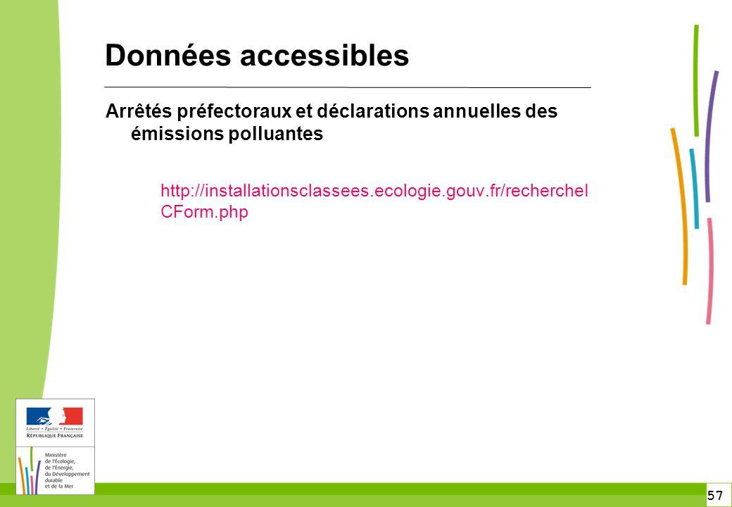57 Données accessibles Arrêtés préfectoraux et déclarations annuelles des émissions polluantes http://installationsclassees.ecologie.gouv.fr/recherche