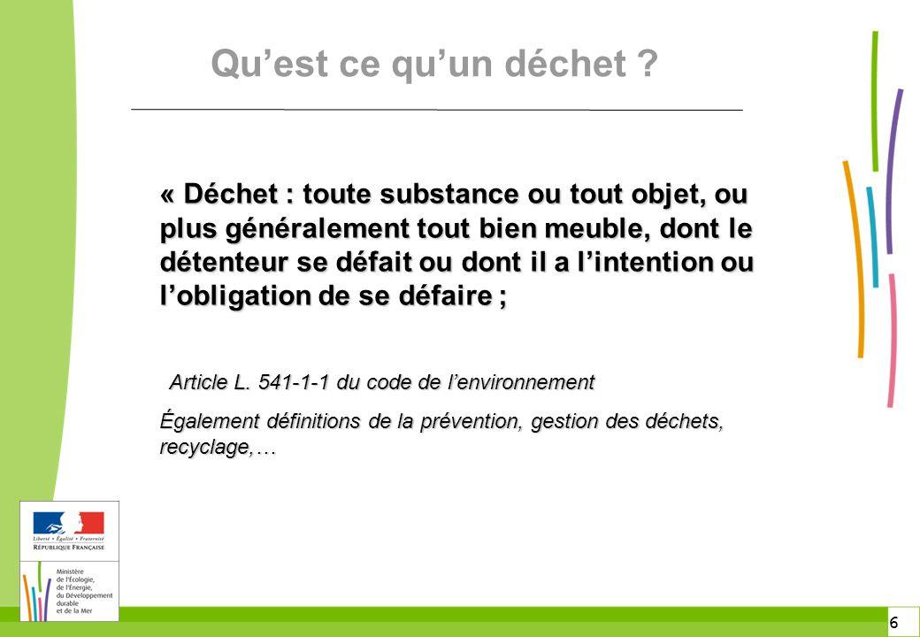7 7 Classification des déchets n Catalogue européen des déchets Décision communautaire 2000/532/CE du 3 mai 2000 n Articles R.