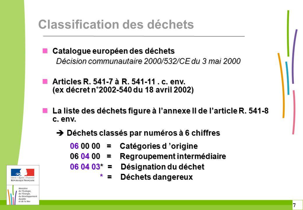 7 7 Classification des déchets n Catalogue européen des déchets Décision communautaire 2000/532/CE du 3 mai 2000 n Articles R. 541-7 à R. 541-11. c. e