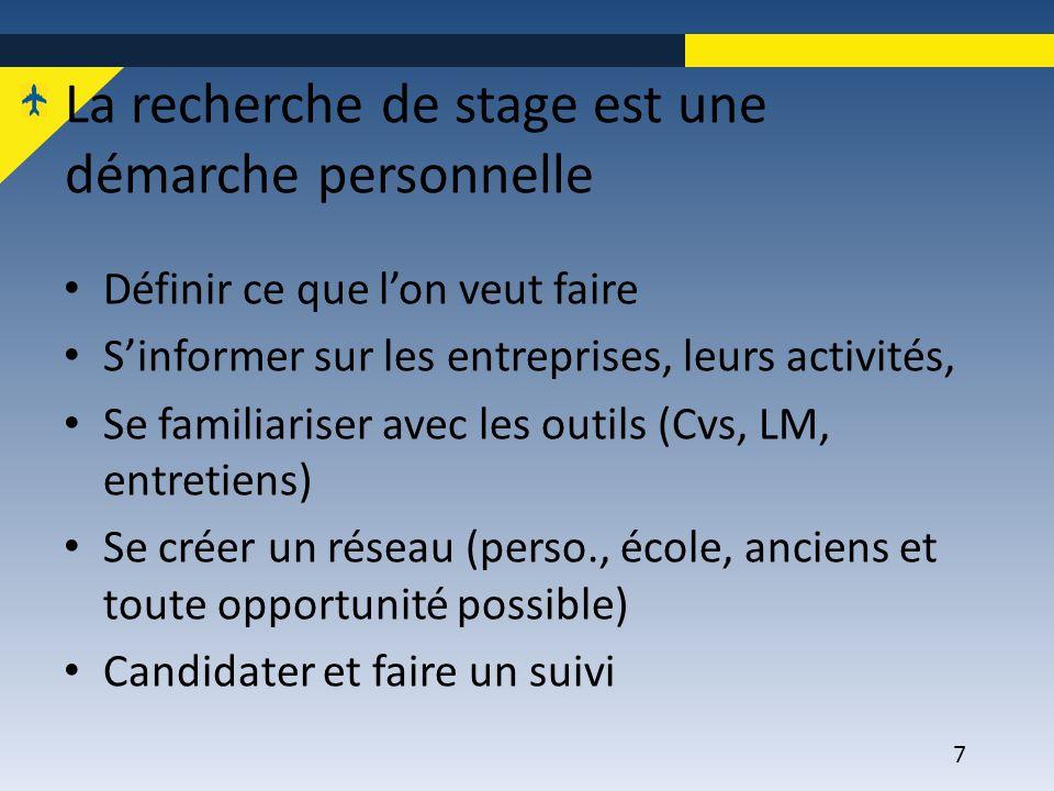 7 La recherche de stage est une démarche personnelle Définir ce que l'on veut faire S'informer sur les entreprises, leurs activités, Se familiariser a