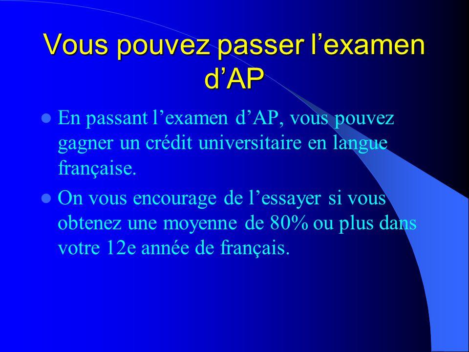 Vous pouvez passer l'examen d'AP En passant l'examen d'AP, vous pouvez gagner un crédit universitaire en langue française.