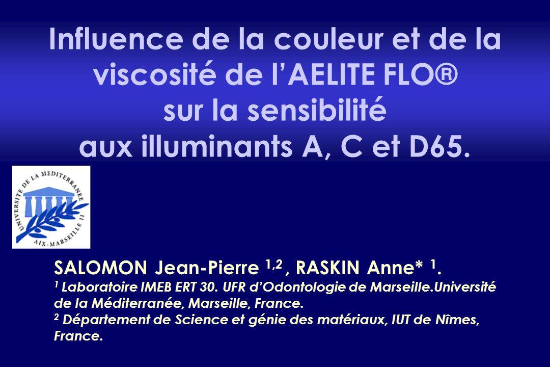 Influence de la couleur et de la viscosité de l'AELITE FLO® sur la sensibilité aux illuminants A, C et D65. SALOMON Jean-Pierre 1, 2, RASKIN Anne* 1.
