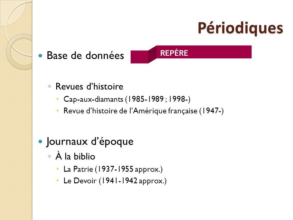 Périodiques Base de données ◦ Revues d'histoire  Cap-aux-diamants (1985-1989 ; 1998-)  Revue d'histoire de l'Amérique française (1947-) Journaux d'époque ◦ À la biblio  La Patrie (1937-1955 approx.)  Le Devoir (1941-1942 approx.)