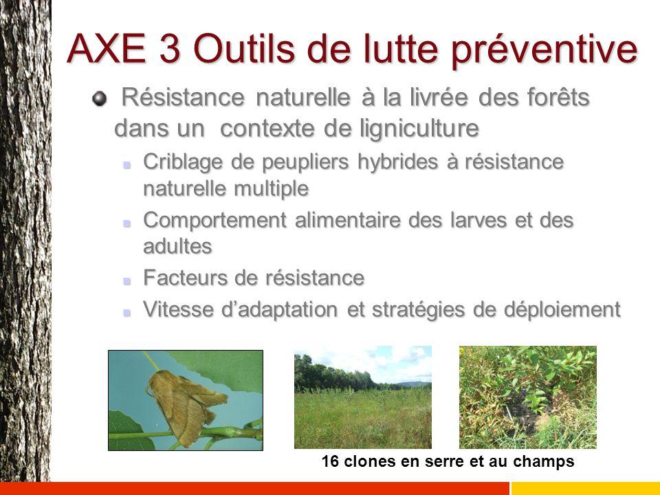 AXE 3 Outils de lutte préventive Résistance naturelle à la livrée des forêts dans un contexte de ligniculture Résistance naturelle à la livrée des for