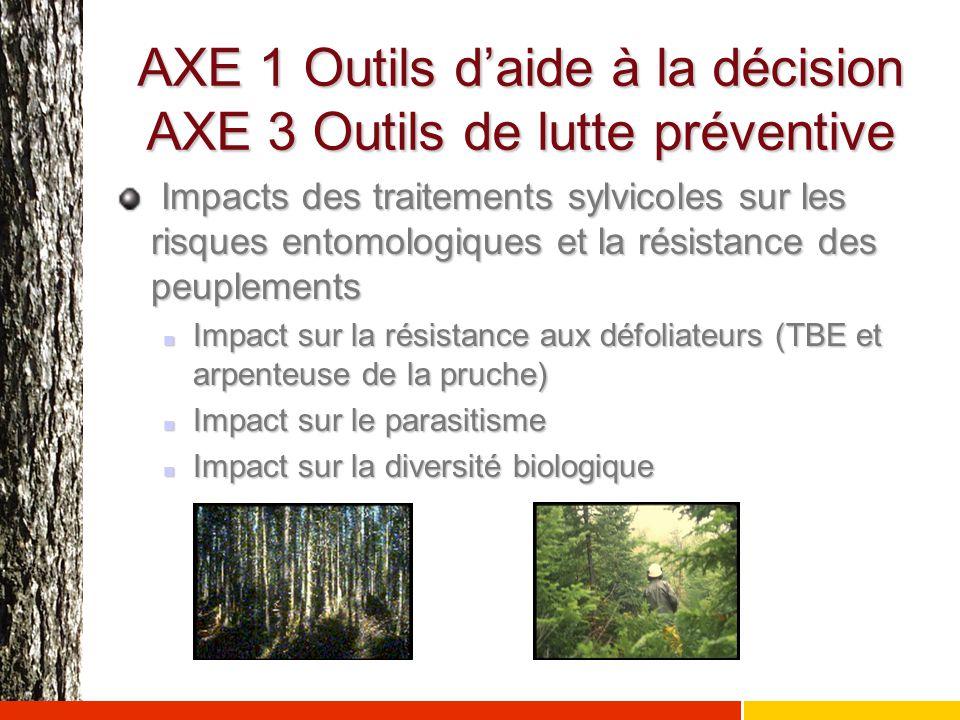 AXE 1 Outils d'aide à la décision AXE 3 Outils de lutte préventive Impacts des traitements sylvicoles sur les risques entomologiques et la résistance