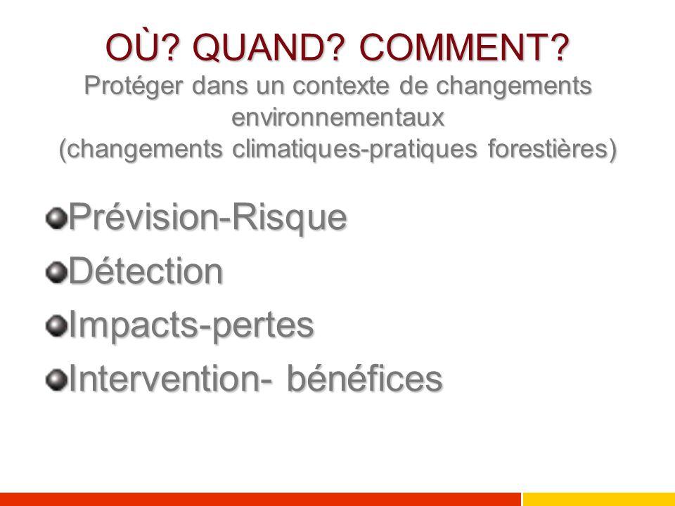 OÙ? QUAND? COMMENT? Protéger dans un contexte de changements environnementaux (changements climatiques-pratiques forestières) Prévision-RisqueDétectio