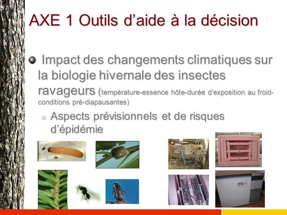 AXE 1 Outils d'aide à la décision Impact des changements climatiques sur la biologie hivernale des insectes ravageurs ( température-essence hôte-durée