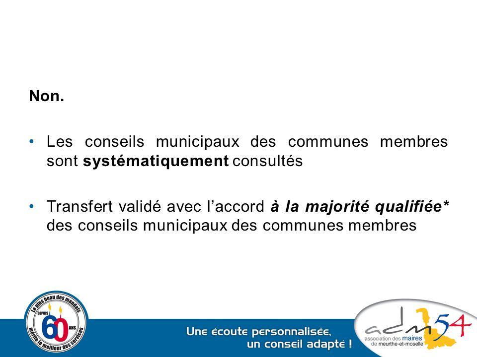 Non. Les conseils municipaux des communes membres sont systématiquement consultés Transfert validé avec l'accord à la majorité qualifiée* des conseils