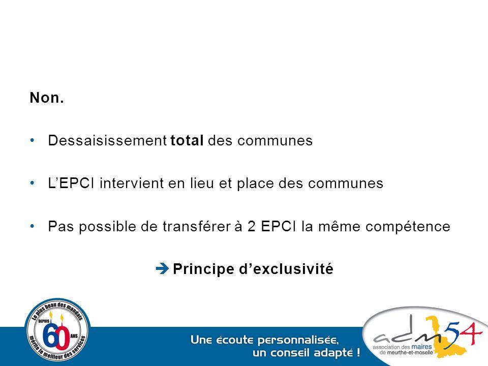 Non. Dessaisissement total des communes L'EPCI intervient en lieu et place des communes Pas possible de transférer à 2 EPCI la même compétence  Princ
