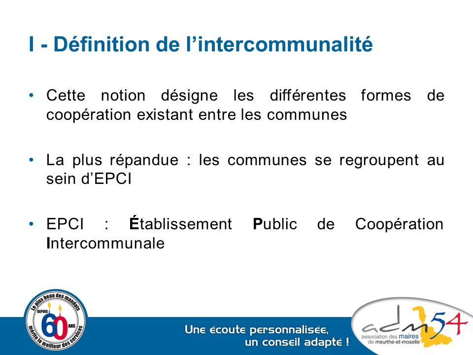 I - Définition de l'intercommunalité Type d'EPCISyndicats intercommunaux Communautés Représentants des communes Délégués intercommunaux Conseillers communautaires Compétences exercéesCompétences librement déterminées Compétences obligatoires, optionnelles et facultatives