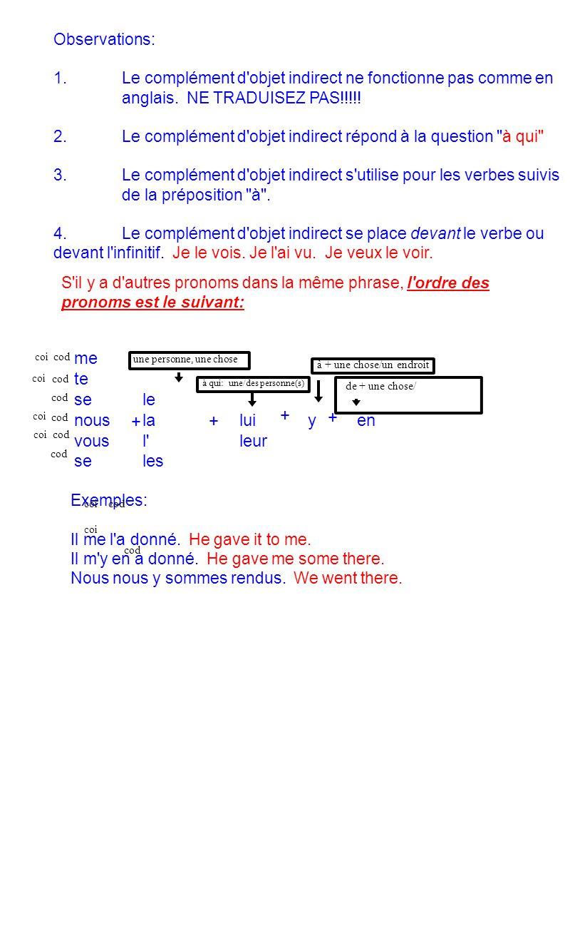 Avancé: Les verbes qui peuvent prendre un complément objet indirect sont suivis de la préposition à + une personne parler à qn communiquer qc à qn dire qc à qn s addresser à qn répondre à qn raconter qc à qn écrire qc à qn présenter qc à qn promettre qc à qn recommander qc à qn annoncer qc à qn, enseigner qc à qn apprendre qc à qn confier qc à qn faire confiance à qn s intéresser à qn mentir à qn nuire à qn rendre visite à qn résister à qn reprocher qc à qn souhaiter qc à qn donner qc à qn rendre qc à qn retourner qc à qn envoyer qc à qn prêter qc à qn tendre qc à qn tenir qc devant qn offrir qc à qn enlever qc à qn défendre qc à qn interdire qc à qn permettre qc à qn devoir qc à qn enseigner qc à qn montrer qc à qn pardonner qc à qn ce sont des verbes de communication échanger des biens le contraire de permettre à qn de faire qc to forbid so to do st lui donner la permission de faire qc si on a emprunté de l argent, on le doit à qn visiter un lieu, mais rendre visite à qn dire des mensonges, ne pas dire la vérité à qn c est ce qu on fait quand on rencontre qn pour la première fois