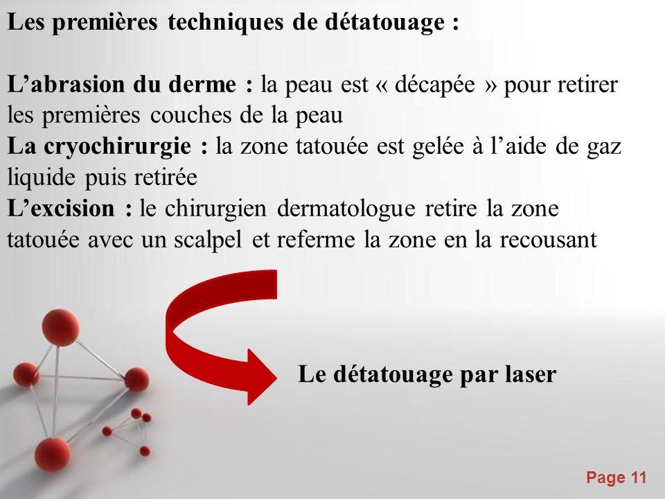 Powerpoint Templates Page 11 Les premières techniques de détatouage : L'abrasion du derme : la peau est « décapée » pour retirer les premières couches