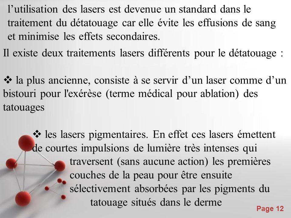 Powerpoint Templates Page 12 l'utilisation des lasers est devenue un standard dans le traitement du détatouage car elle évite les effusions de sang et