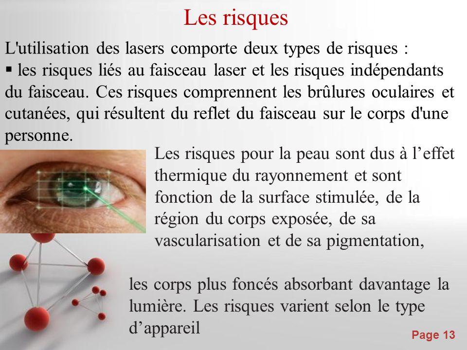 Powerpoint Templates Page 13 Les risques L'utilisation des lasers comporte deux types de risques :  les risques liés au faisceau laser et les risques