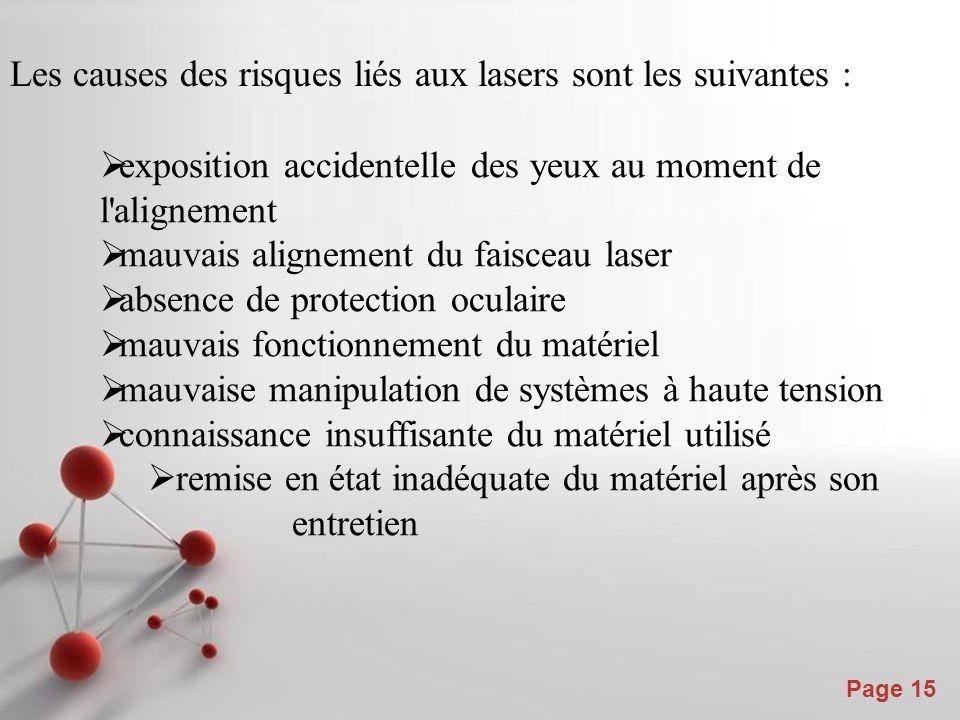 Powerpoint Templates Page 15 Les causes des risques liés aux lasers sont les suivantes :  exposition accidentelle des yeux au moment de l'alignement
