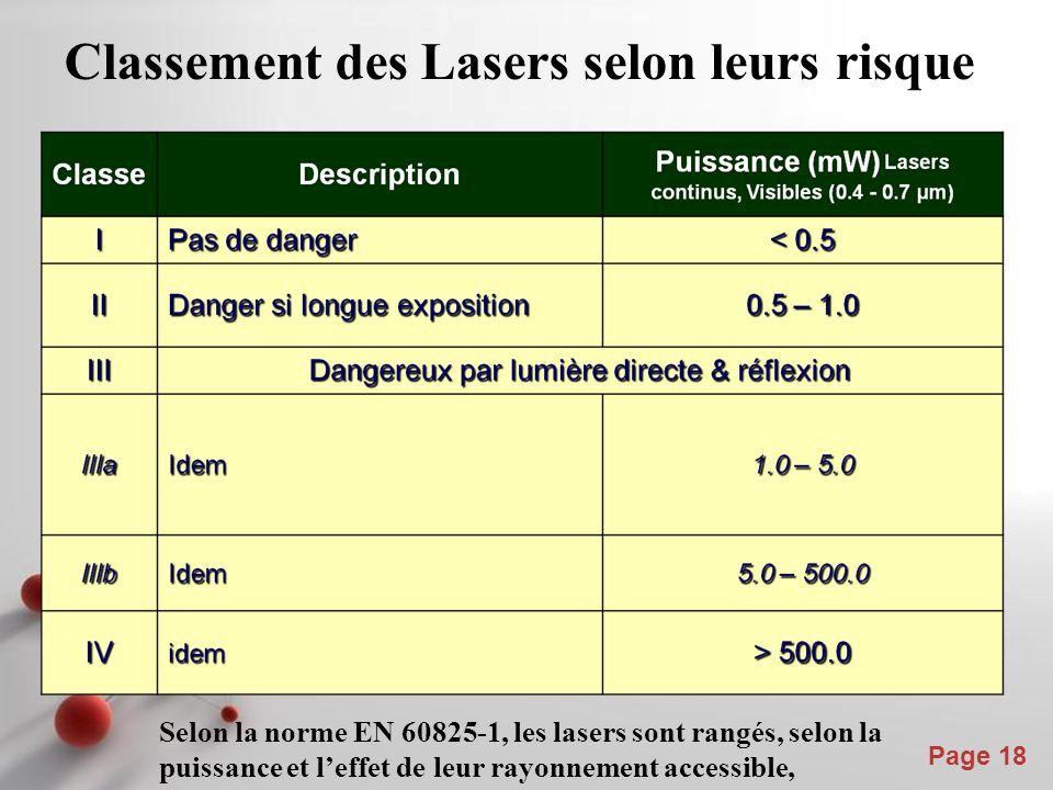 Powerpoint Templates Page 18 Classement des Lasers selon leurs risque Selon la norme EN 60825-1, les lasers sont rangés, selon la puissance et l'effet