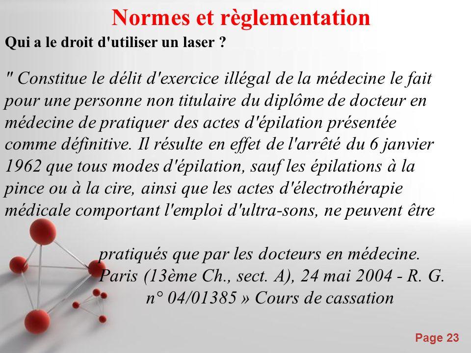 Powerpoint Templates Page 23 Normes et règlementation Qui a le droit d'utiliser un laser ?