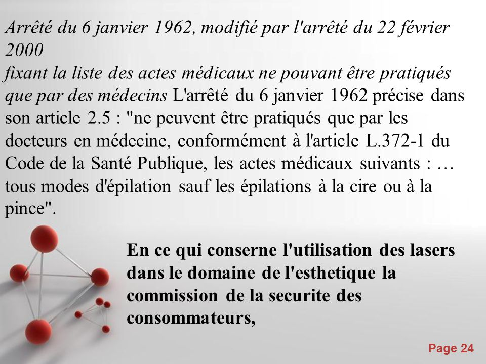 Powerpoint Templates Page 24 Arrêté du 6 janvier 1962, modifié par l'arrêté du 22 février 2000 fixant la liste des actes médicaux ne pouvant être prat