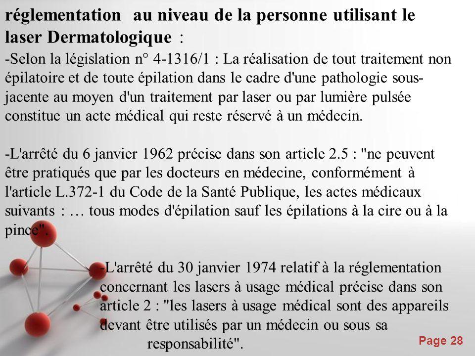 Powerpoint Templates Page 28 réglementation au niveau de la personne utilisant le laser Dermatologique : -Selon la législation n° 4-1316/1 : La réalis