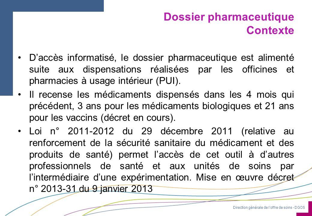 Direction générale de l'offre de soins - DGOS Dossier pharmaceutique Contexte D'accès informatisé, le dossier pharmaceutique est alimenté suite aux dispensations réalisées par les officines et pharmacies à usage intérieur (PUI).