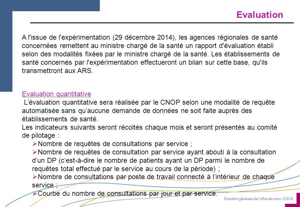 Direction générale de l'offre de soins - DGOS Evaluation Evaluation quantitative L'évaluation quantitative sera réalisée par le CNOP selon une modalité de requête automatisée sans qu'aucune demande de données ne soit faite auprès des établissements de santé.