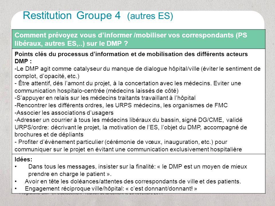 Programme DMP en établissement : réunion de lancement le 23 novembre 2011 Comment prévoyez vous d'informer /mobiliser vos correspondants (PS libéraux, autres ES,..) sur le DMP .