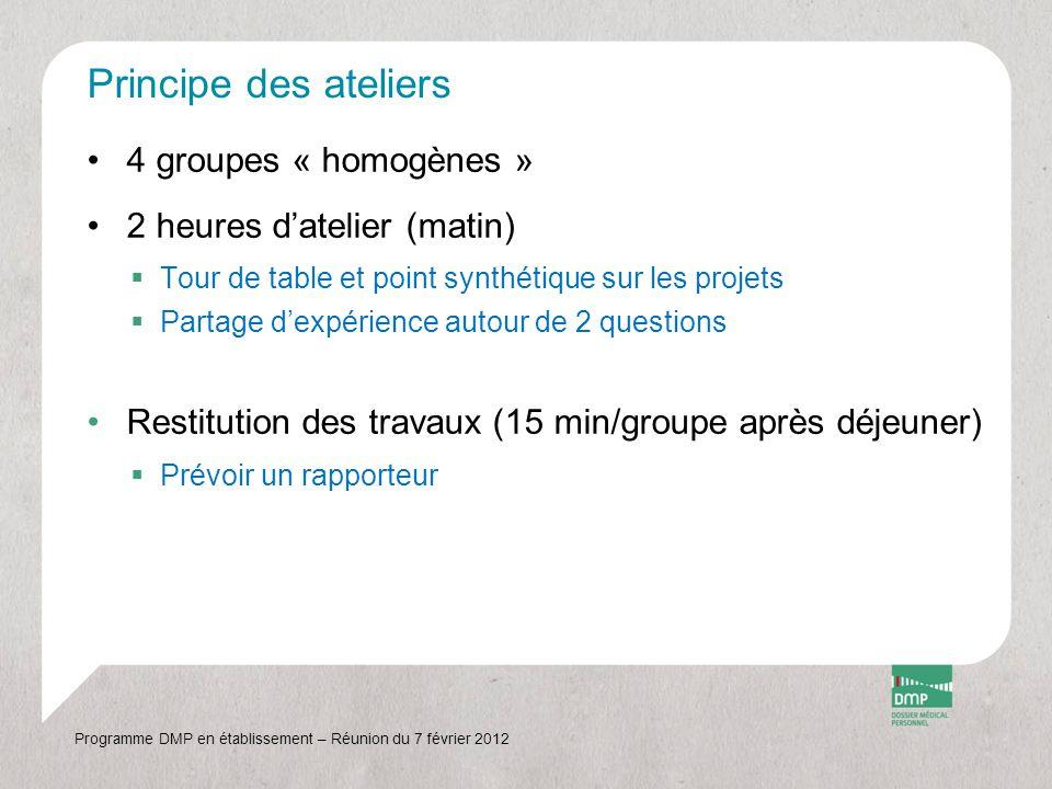 Thèmes des ateliers Programme DMP en établissement – Réunion du 7 février 2012 GroupeThèmes de discussion prioritaires N° 1 - Comment recueillir le consentement des patients sous tutelle ou sous curatelle .