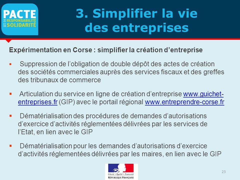 3. Simplifier la vie des entreprises Expérimentation en Corse : simplifier la création d'entreprise  Suppression de l'obligation de double dépôt des
