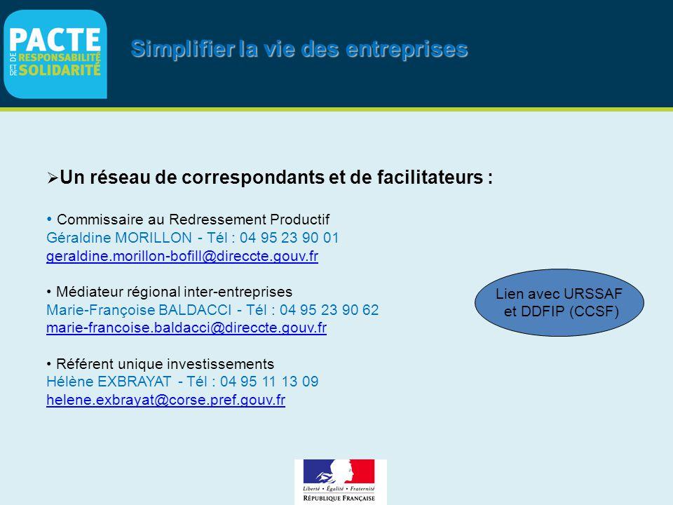 Simplifier la vie des entreprises  Un réseau de correspondants et de facilitateurs : Commissaire au Redressement Productif Géraldine MORILLON - Tél :