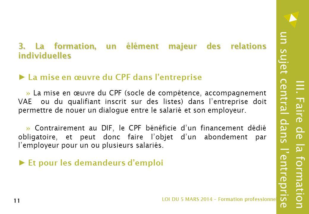 11 LOI DU 5 MARS 2014 – Formation professionnelle 11 3.