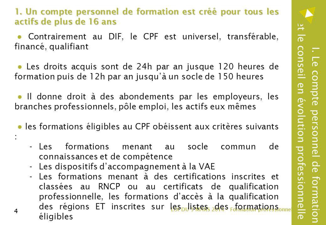 4 LOI DU 5 MARS 2014 – Formation professionnelle 4 1.