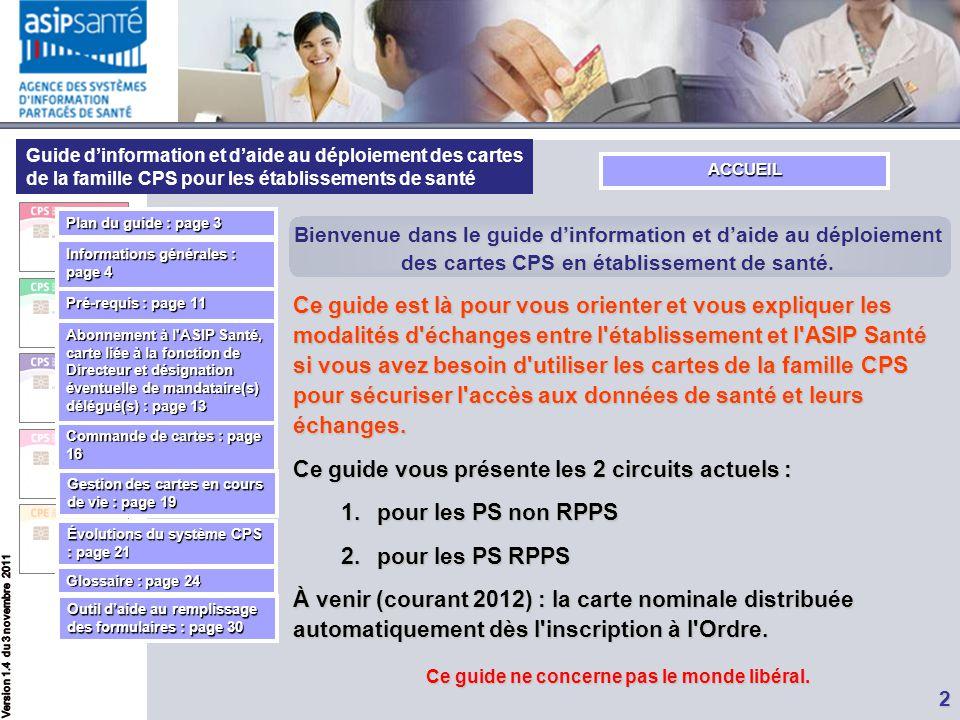 Guide d'information et d'aide au déploiement des cartes de la famille CPS pour les établissements de santé 2 Bienvenue dans le guide d'information et