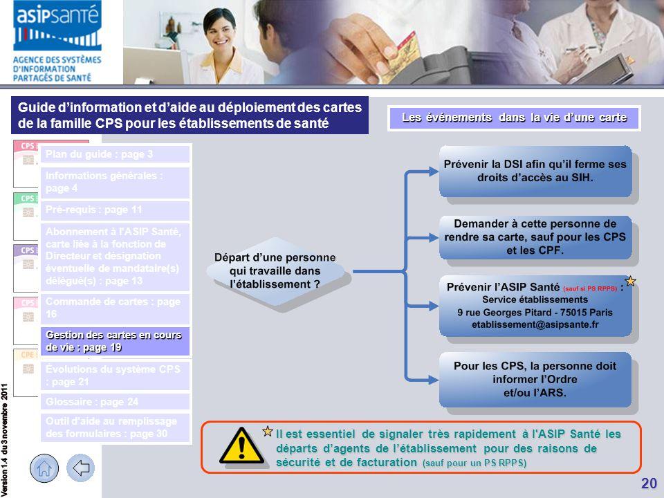 Guide d'information et d'aide au déploiement des cartes de la famille CPS pour les établissements de santé 20 Il est essentiel de signaler très rapide