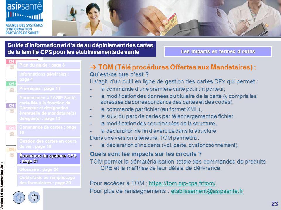 Guide d'information et d'aide au déploiement des cartes de la famille CPS pour les établissements de santé 23 Les impacts en termes d'outils  TOM (Té