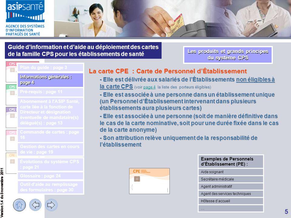 Guide d'information et d'aide au déploiement des cartes de la famille CPS pour les établissements de santé 6 Le Responsable de l'établissement de santé, ou mandataire, (qui est son représentant légal) se voit doté d'une carte particulière tenant compte de sa responsabilité : - d'une CPS de Responsable s'il est professionnel de santé, - sinon d'une CDE (Carte de Directeur d'Établissement).