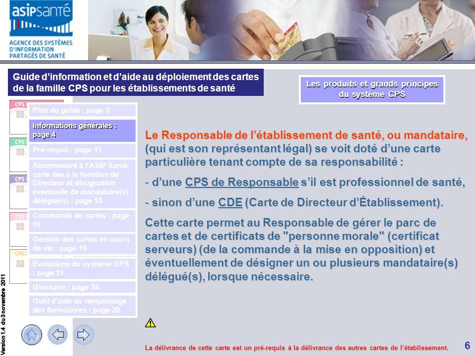 Guide d'information et d'aide au déploiement des cartes de la famille CPS pour les établissements de santé 6 Le Responsable de l'établissement de sant