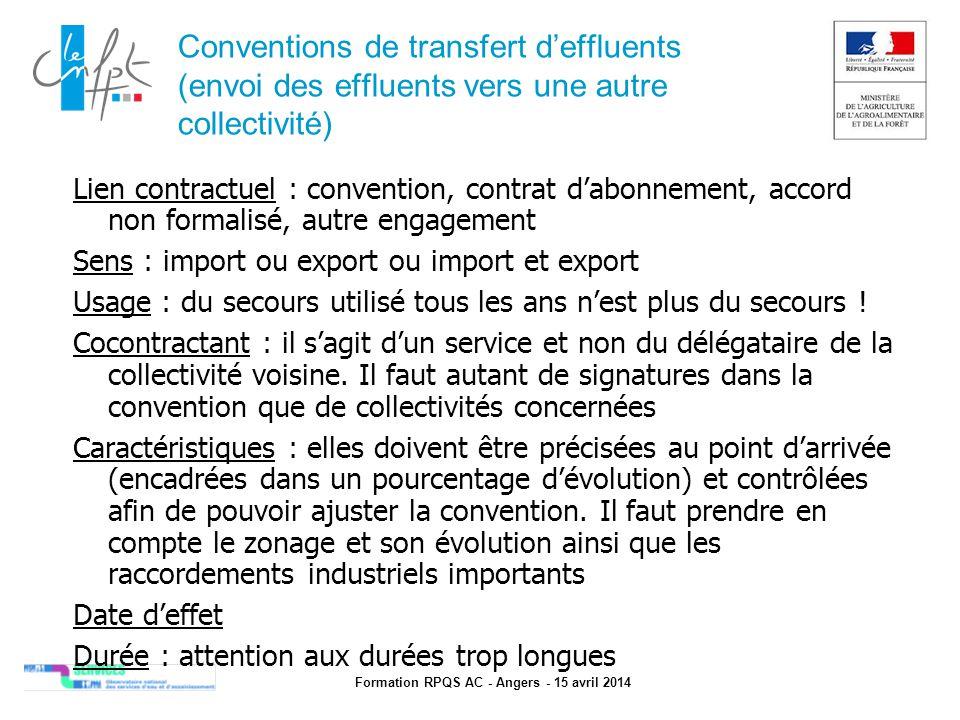 Formation RPQS AC - Angers - 15 avril 2014 Conventions de transfert d'effluents (envoi des effluents vers une autre collectivité) Lien contractuel : c