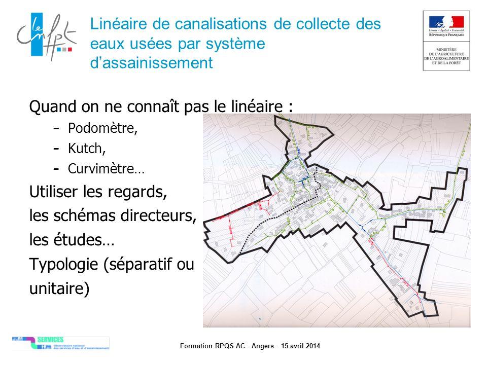 Formation RPQS AC - Angers - 15 avril 2014 Linéaire de canalisations de collecte des eaux usées par système d'assainissement Quand on ne connaît pas l