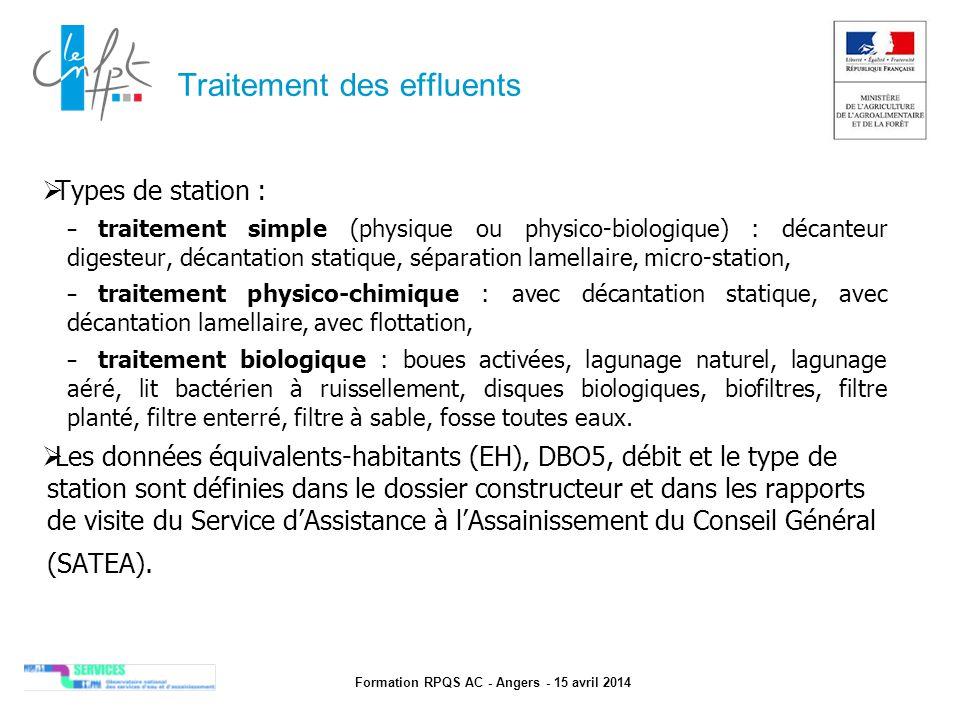 Formation RPQS AC - Angers - 15 avril 2014 Traitement des effluents  Types de station : – traitement simple (physique ou physico-biologique) : décant