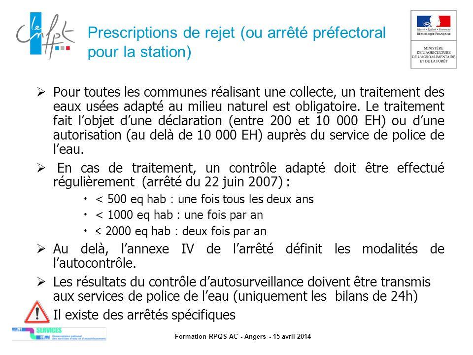 Formation RPQS AC - Angers - 15 avril 2014 Prescriptions de rejet (ou arrêté préfectoral pour la station)  Pour toutes les communes réalisant une col