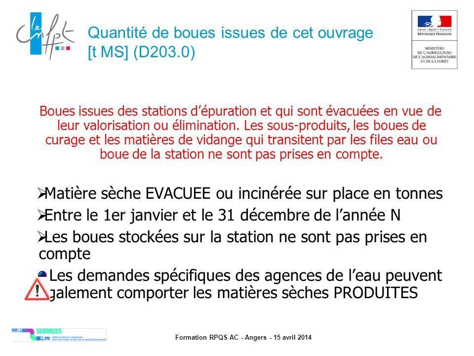 Formation RPQS AC - Angers - 15 avril 2014 Quantité de boues issues de cet ouvrage [t MS] (D203.0) Boues issues des stations d'épuration et qui sont é
