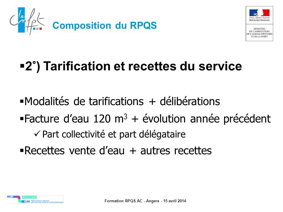 Formation RPQS AC - Angers - 15 avril 2014  2°) Tarification et recettes du service  Modalités de tarifications + délibérations  Facture d'eau 120
