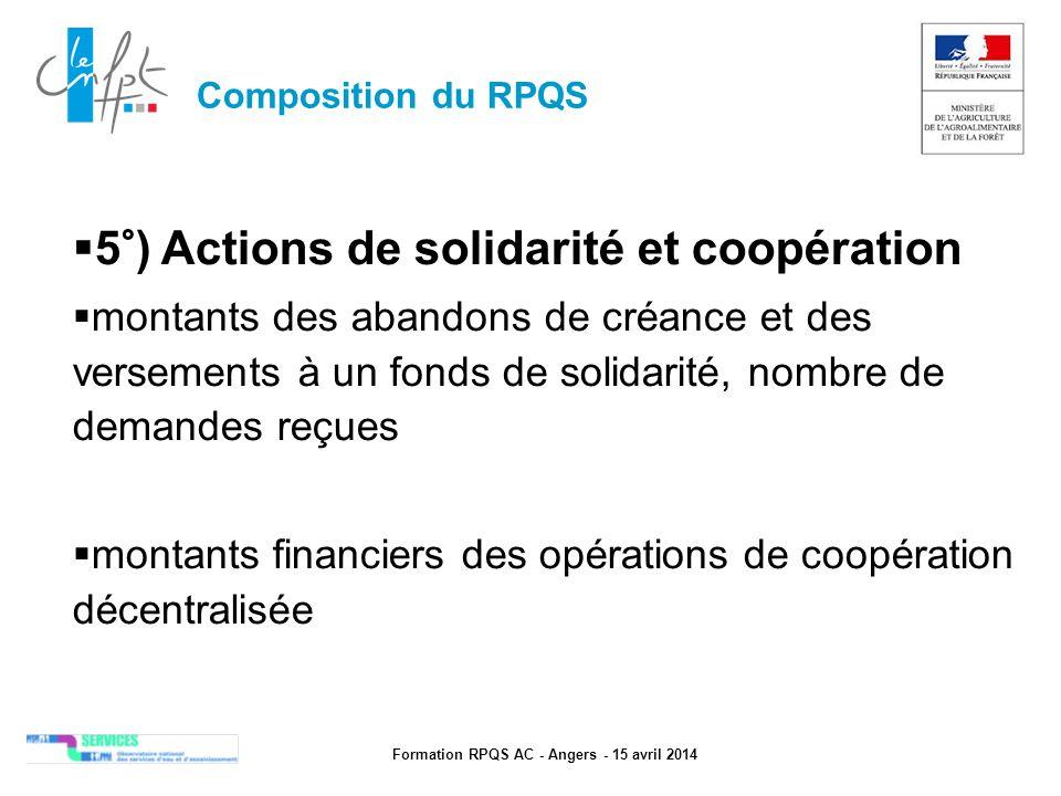 Formation RPQS AC - Angers - 15 avril 2014  5°) Actions de solidarité et coopération  montants des abandons de créance et des versements à un fonds