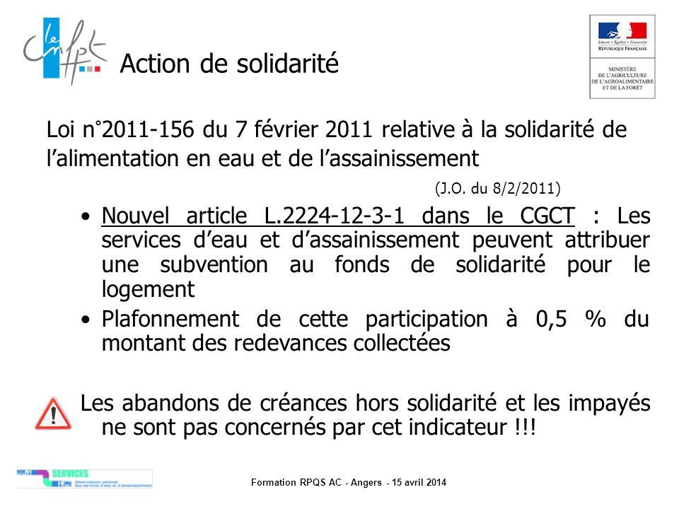 Formation RPQS AC - Angers - 15 avril 2014 Action de solidarité Loi n°2011-156 du 7 février 2011 relative à la solidarité de l'alimentation en eau et